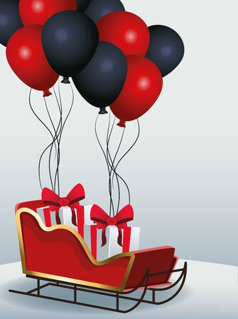 sled with gift boxes and red and black balloons over gray background, colorful design, vector illustration Illusztráció