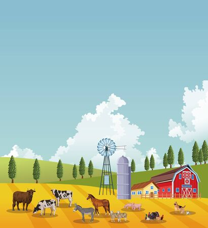 group of animals farm with stable in the camp vector illustration design
