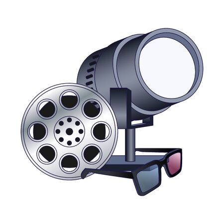 film reel with stage lights and 3d glasses over white background, vector illustration Banque d'images - 140129584