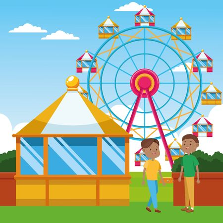 cartoon boys standing over ferris wheel and landscape background, colorful design, vector illustration