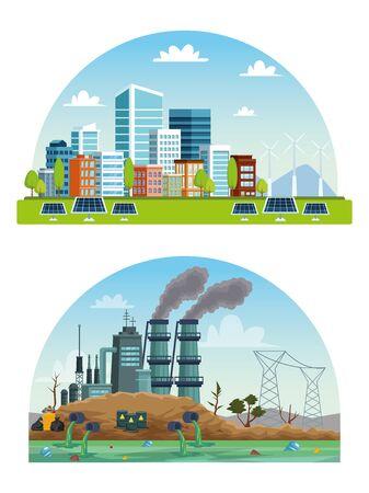 Ecología ciudad e industria escenas de contaminación, diseño de ilustraciones vectoriales