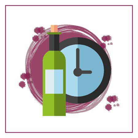 wine bottle drink with time clock vector illustration design