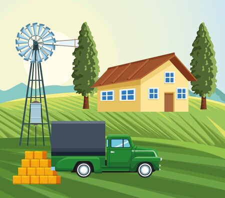 farming house windmill truck hay bales meadow trees vector illustration