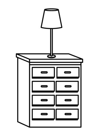 Office and workplace elements light lamp on drawer cartoons ,vector illustration graphic design.