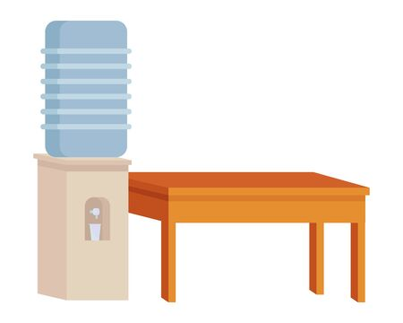 Office and workplace elements water dispenser and desk cartoons ,vector illustration graphic design.