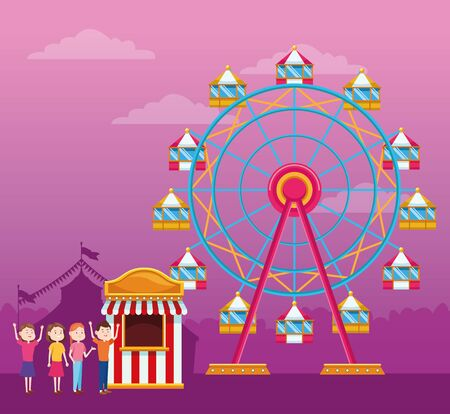 Happy people next to ferris wheel ticket booth and ferris wheel over purple background, colorful design, vector illustration