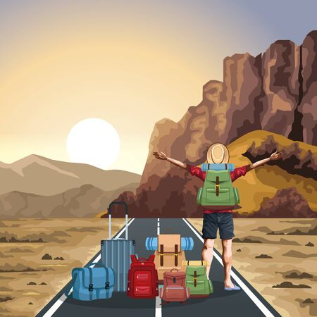 beautiful western landscape with travel bags and traveler man with his arms wide open, colorful design, vector illustration
