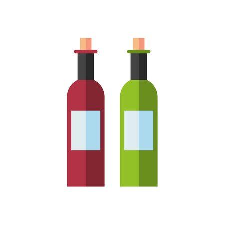 wine bottles drink isolated icon vector illustration design