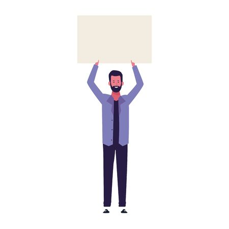 cartoon man standing and holding up a blank poster over white background, vector illustration