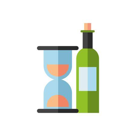 wine bottle drink with hourglass vector illustration design