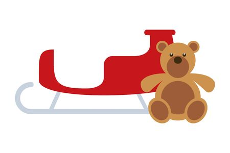 merry christmas sled carriage and bear teddy icon vector illustration design