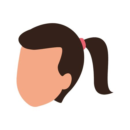 avatar woman with hair tail over white background, colorful design. vector illustration