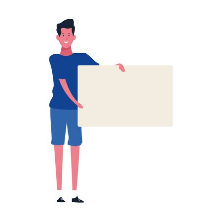 cartoon man holding blank placard icon over white background, vector illustration