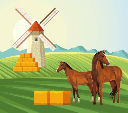 farming windmill bales of hay and horses in the field vector illustration 矢量图像