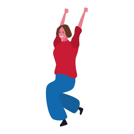 cartoon woman dancing icon over white background, colorful design. vector illustration Иллюстрация