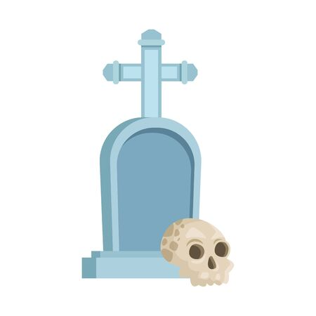 halloween head skull with graveyard vector illustration design 向量圖像