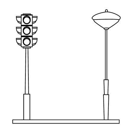 Traffic lights and streetlight on street vector illustration graphic design Çizim