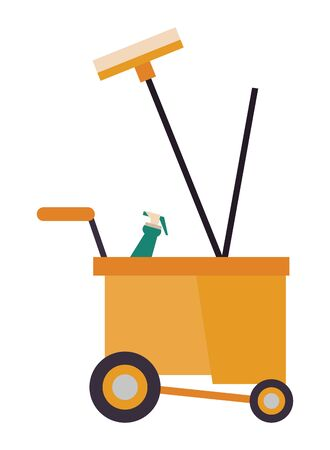 housekepping cart with broom and splash bottle vector illustration design