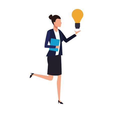 avatar businesswoman with big light bulb over white background, vector illustration Ilustrace