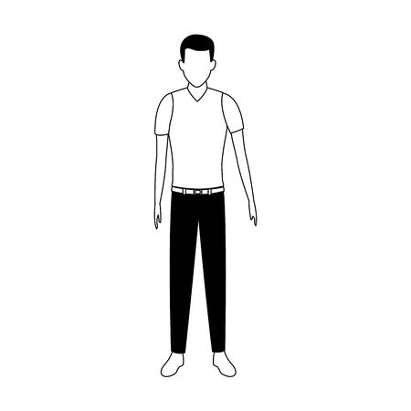 adult man standing icon over white background, vector illustration Çizim
