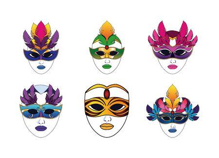 carnival masks icon set over white background, colorful design , vector illustration