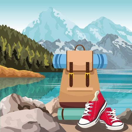 Lake and mountains landscape with travel backpack and casual red shoes, colorful design, vector illustration