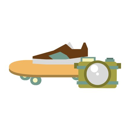 accessories for summer days symbols and sneakers skateboard with camera Vector design illustration