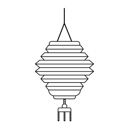 oriental lantern icon over white background, black and white design, vector illustration