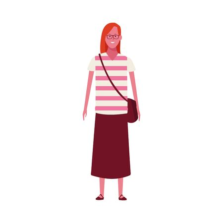 cartoon woman with tshirt and long skirt over white background, vector illustration