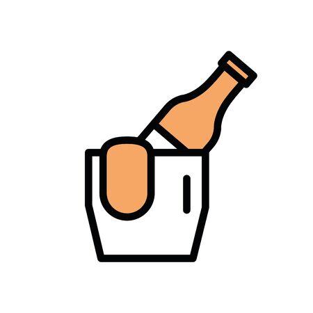 wine bottle in ice bucket icon vector illustration design