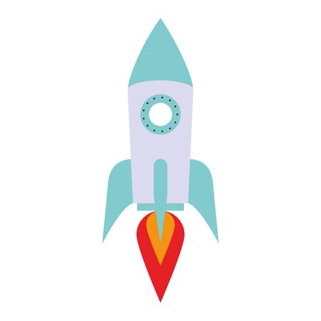 Spaceship rocket symbol isolated cartoon vector illustration graphic design