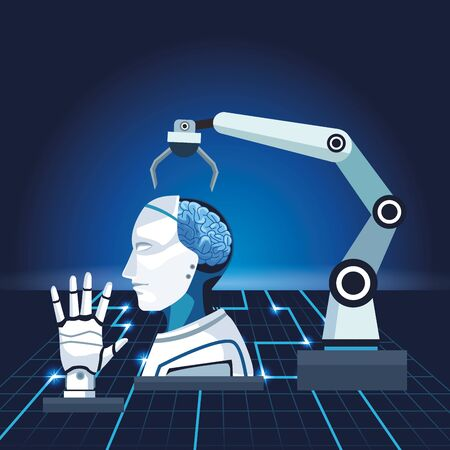 artificial intelligence technology robotic arm cyborg and hand mechanical vector illustration Illustration