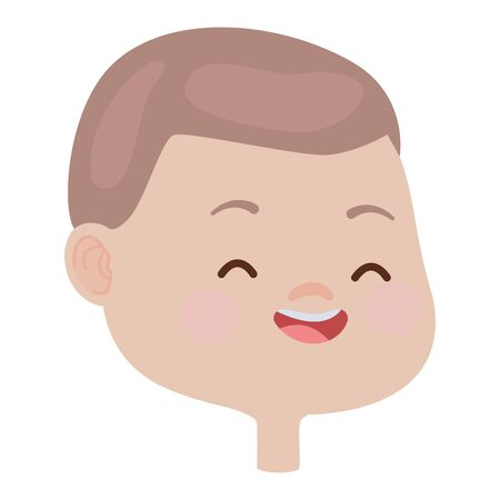 Cute kid boy face and head smiling cartoon vector illustration graphic design.
