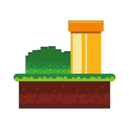 Retro videogame scenery with terrain isolated vector illustration graphic design