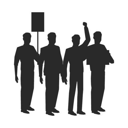 social activity and public protest group of people raising sign and fist in the air silhouette avatar cartoon character vector illustration graphic design