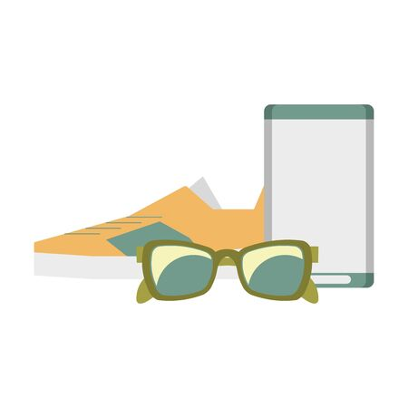 accessories for tourism and vacations with sunglasses sneakers and music player isolated symbol Vector design illustration