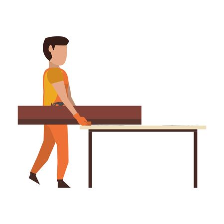 Carpenter with tools holding wooden plank to table vector illustration graphic design Ilustrace