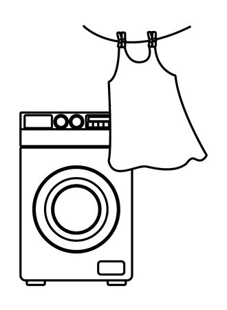 laundry wash and cleaning hanging clothes and washing machine icon cartoon in black and white vector illustration graphic design