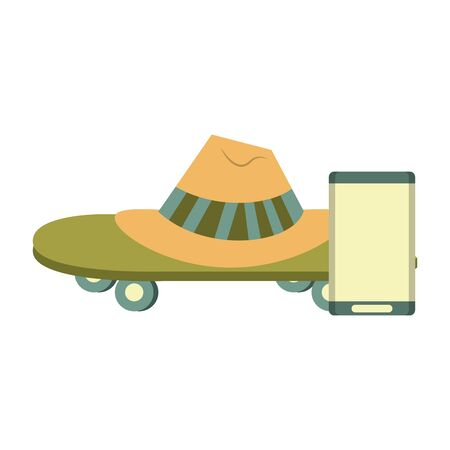 accessories for summer days symbols with hat skateboard and music player isolated Vector design illustration