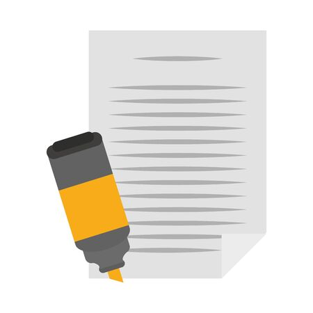 paper page and highlighter over white background, vector illustration