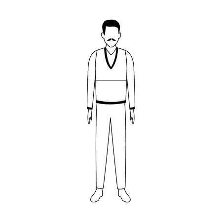 avatar old man standing over white background, vector illustration 일러스트