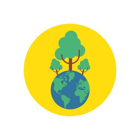 world planet earth with trees forest vector illustration design