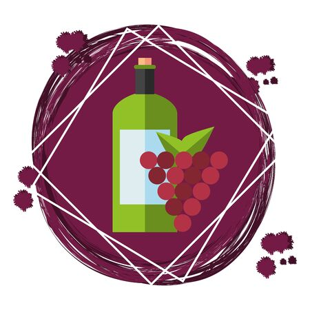 wine bottles with grapes icons vector illustration design