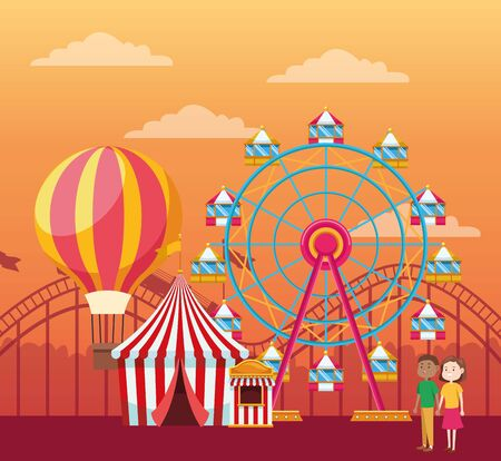 couple in the fair with hot air balloon, ferris wheel and fair tent over orange sunset background, colorful design, vector illustration Illustration