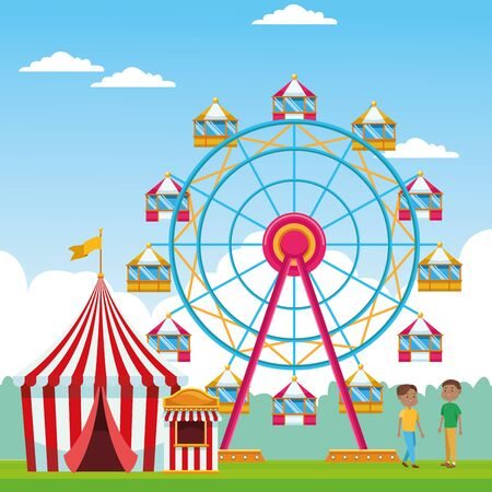 Happy boys in the fair with ferris wheel and fair tent over landscape background, colorful design, vector illustration