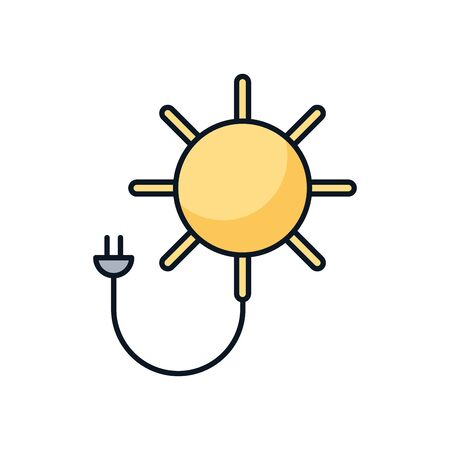 sun with energy connector wire vector illustration design