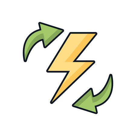 arrows recycle symbol with power ray vector illustration design