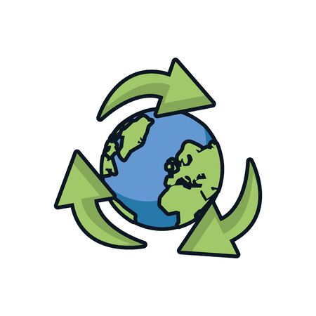 world planet earth with arrows around vector illustration design