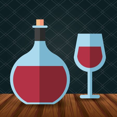 wine bottle drink with cup vector illustration design  イラスト・ベクター素材