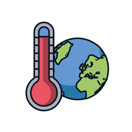 world planet earth with thermometer vector illustration design Stock Vector - 140089643